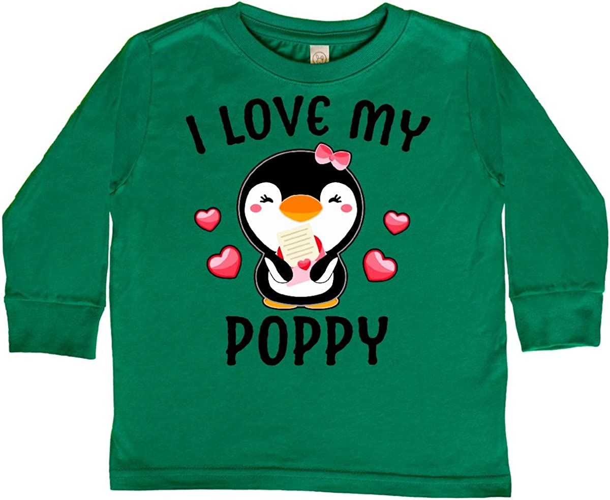 inktastic I Love My Poppy with Cute Penguin and Toddler Long Sleeve T-Shirt