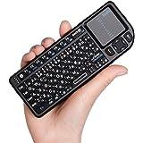 Ewin® ミニ bluetooth キーボード Mini Bluetooth keyboard タッチパッド搭載 ワイヤレス 小型 キーボード マウス 一体型 無線 USB レシーバー バックライト付き 使用便利 【日本語説明書と一年の保証付き】ブラック