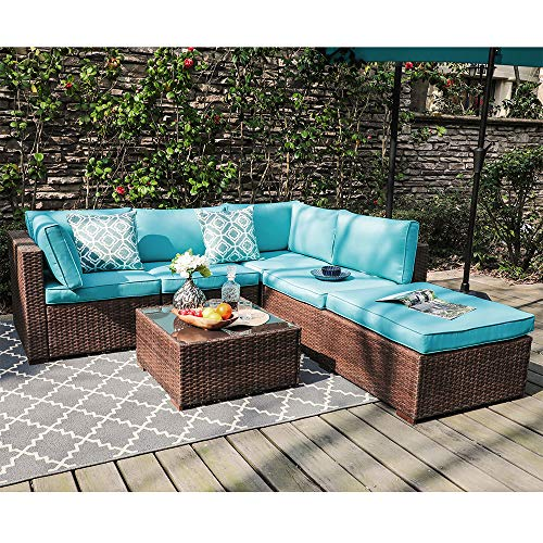 OC Orange-Casual 6-Piece Outdoor Patio Sectional Sofa Set Brown Wicker Furniture Set with Turquoise Seat Cushions & Tempered Glass Coffee Table