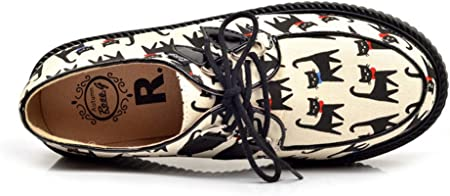 RoseG Lovely Gato Creepers Plataforma Cordones Zapatos Mujer
