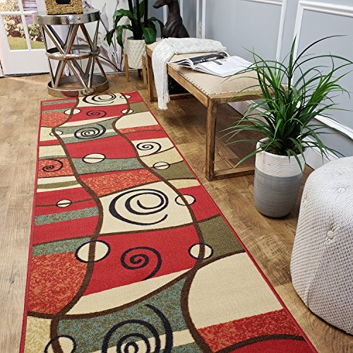 CUSTOM CUT 31-inch Wide by 23-feet Long Runner, Multicolor Abstract Non Slip, Non-Skid, Rubber Backed Stair, Hallway, Kitchen, Carpet Runner Rug - Choose your Width by Length