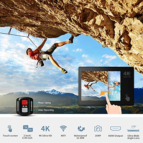 Action Camera, ABOX 608TA 4K 16MP WiFi Sport Cam 30M Waterproof Camcorder with Touch Screen/Dual Screen Display, 170°Wide-Angle Len,2.4G RF Remote, 2 Rechargeable Batteries and Accessories Kit by ABOX (Image #1)