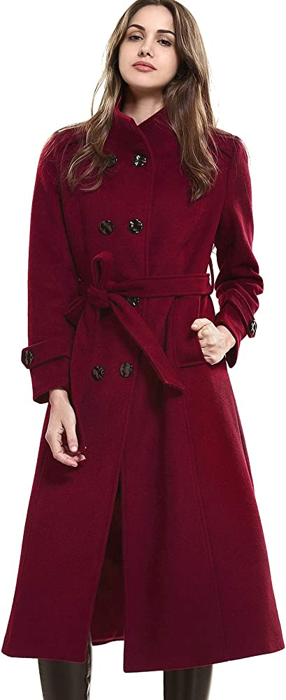 4eda3d6850a Escalier Women's Double-Breasted Trench Coat Wool Jacket with Belt Wine XS