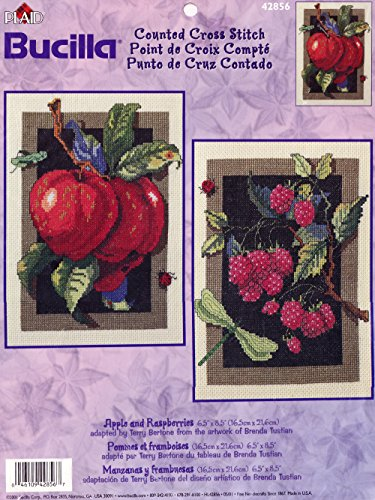 Bucilla Apple and Raspberries Counted Cross Stitch Picture Kit 42856