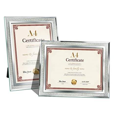 Amazing Roo Certificate Picture Frames A4 Size Mirrored Glass Document Frame Pack Of 2