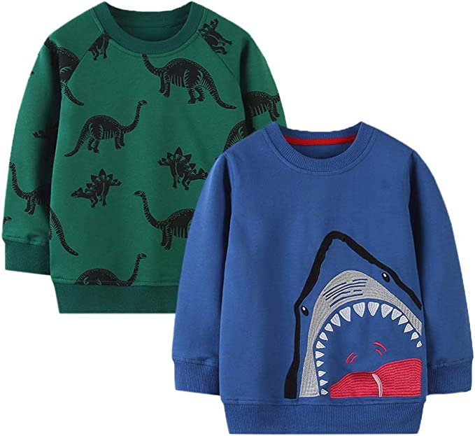 HUAER /& Baby Boy Round Neck Cotton Long Sleeve Pullover Sweatshirt