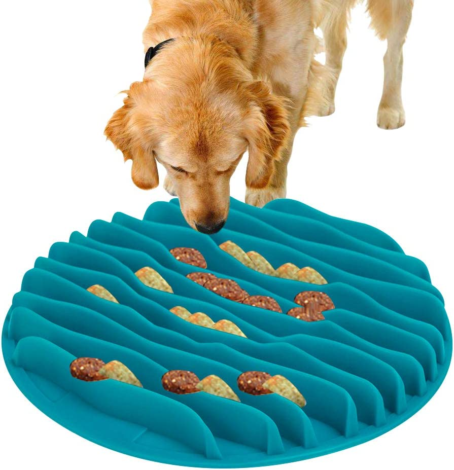 C100AE Comedero Perro Gato, Comedero de Perros para ralentizar la Comida, Interactivo Bol para Perro de Mascota, Antideslizante Tazon Comedero para Mascotas