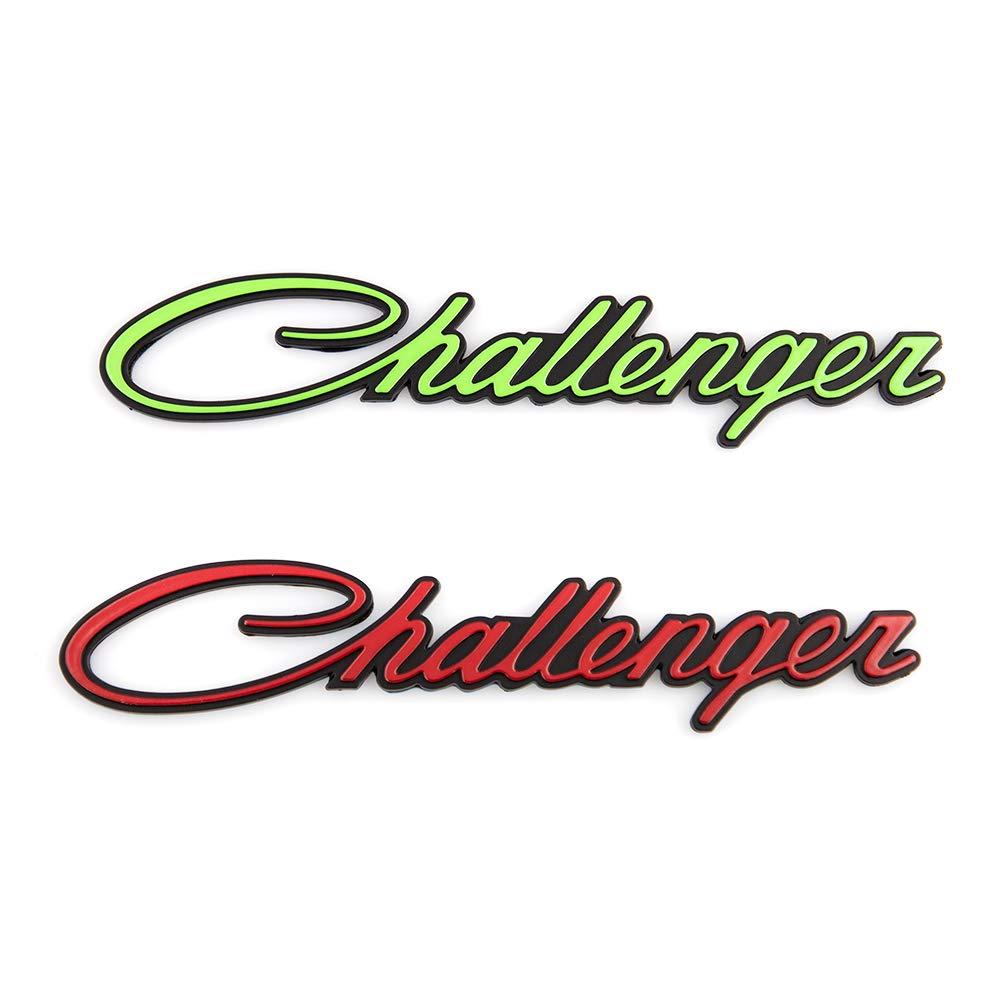 2x Challenger Emblems 3D Letter Fender Sticker Replacement For Chrysler Mopar Challenger Green-black