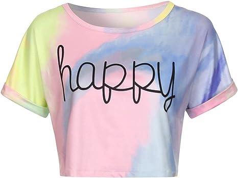BaZhaHei Chaleco de Mujer Camiseta degradada para Mujer con Estampado de Blusas Crop Tank Camisetas de Manga Corta Informal Señoras de Verano de impresión Casual Tops de gradiente de Ombligo Chaleco: Amazon.es:
