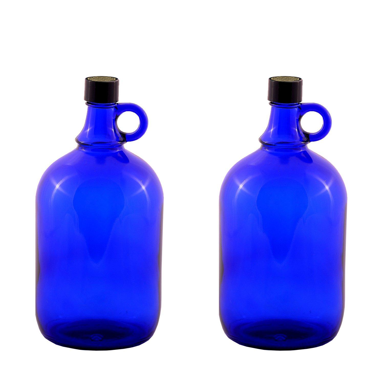 2 x 2 litros Globo de cristal botella en azul galón/flor de la Vida: Amazon.es: Hogar