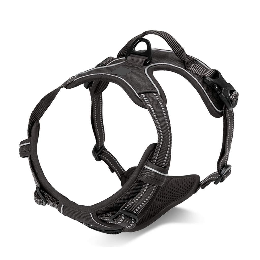 Black LGWM Leashes Pet Harness, Pet Chest Strap, Vest, Dog Leash Strap, ExplosionProof Punch, golden Hair, Traction Rope Chest Back (color   Black, Size   L)