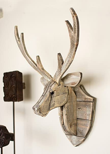 Black Forest Decor Recycled Wood Deer Head Wall Hanging