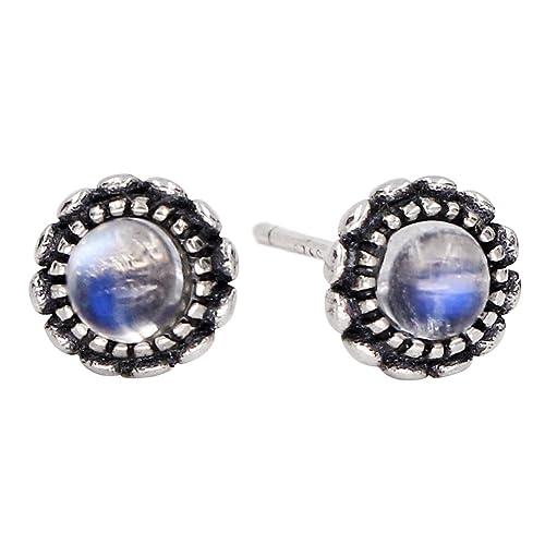 Luna Azure Natural Moonstone 925 Sterling Silver Vintage Style Lotus Stud Earrings women girls festival gift present