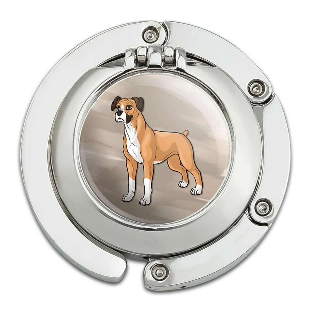 Boxer Pet Dog Foldable Table Bag Purse Caddy Handbag Hanger Holder Hook with Folding Compact Mirror