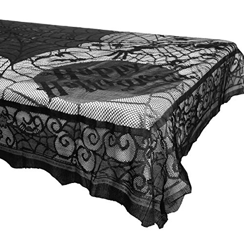 Fresh O2 Black Midnight Lace Spider Web & Bats Tablecloth 58x80 Halloween Home Party Decorations Décor -
