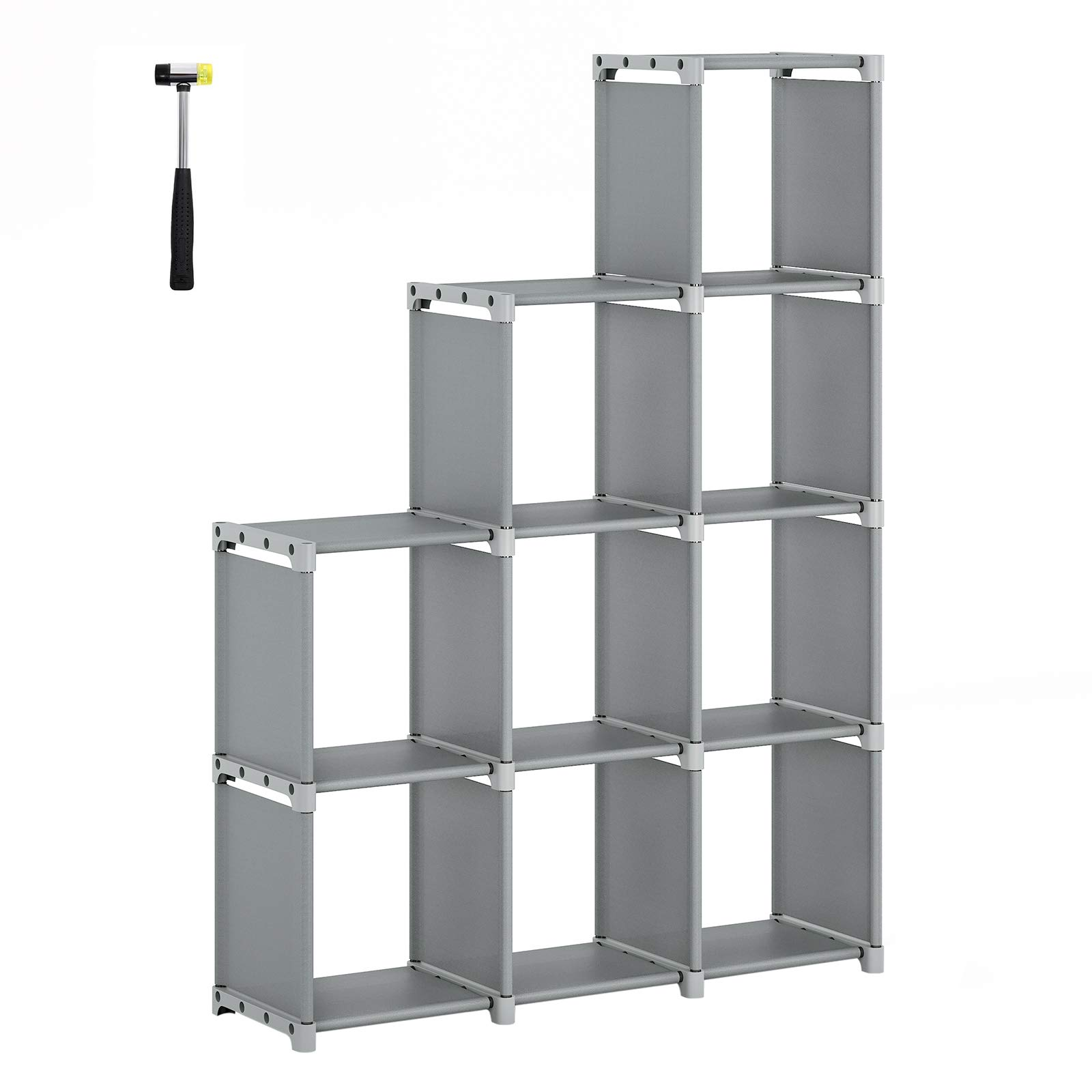 SONGMICS 9-Cube DIY Storage Shelves, Open Bookshelf, Closet Organizer, for Family Study, Living Room, Bedroom, Kid's Room, Gray ULSN33GY