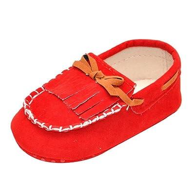 Chaussures Bébé,Fulltime® Chaussures bébé Tassel Prewalker bowknot Toddler  semelle souple (12, rouge) 6c912dfabc49