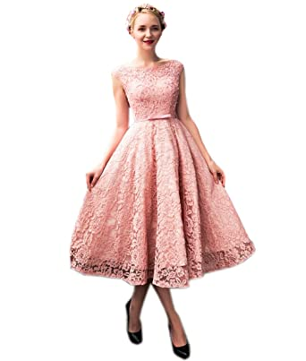 Engerla A-Line Scoop Beaded Pink Lace Prom Dress Tea Length Party Gown 2018(