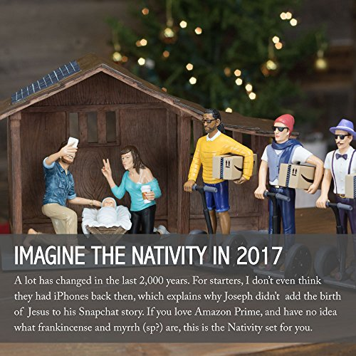 """Nativity Figurine and Stable Set - Hipster Nativity Scene - Holiday Gifts - Christmas Gifts - Millennial Christmas - Each Piece 100% Hand Painted and Made of Durable Polyresin - 7"""" Figurines- Full Set by Gorilla Goodies (Image #3)"""