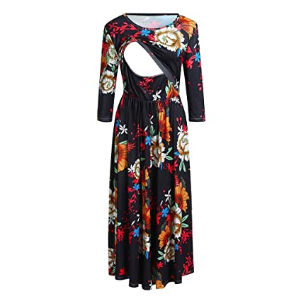 c5ba7b25a490f Nacome_Promotion Breastfeeding Dress,Floral Labor Delivery Maternity  Nursing Dress Pregnancy Gown Hospital XX-Large Black: Amazon.in: Home &  Kitchen
