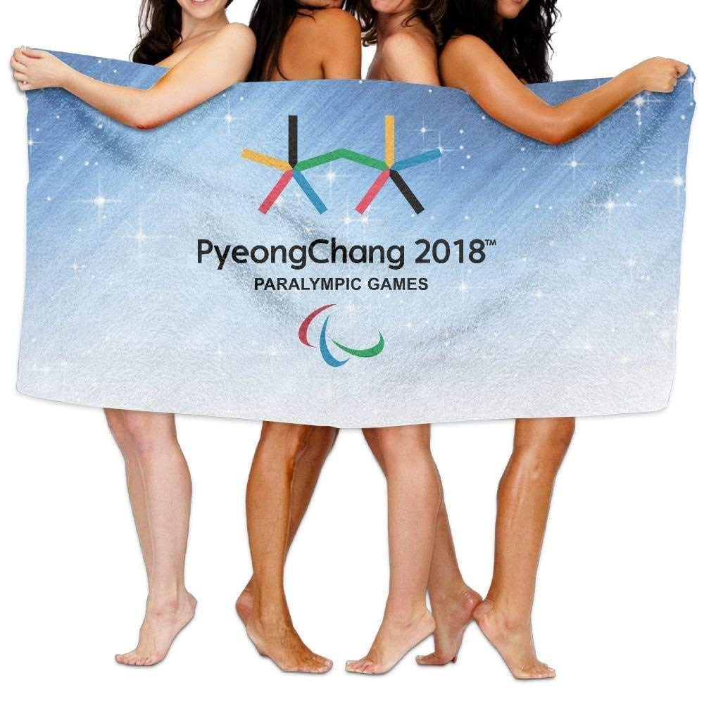 NFHRRE Beach Towel The PyeongChang 2018 Paralympic Winter Games Emblem 31'' X 51'' Soft Lightweight Absorbent for Bath Swimming Pool Yoga Pilates Picnic Blanket Towels