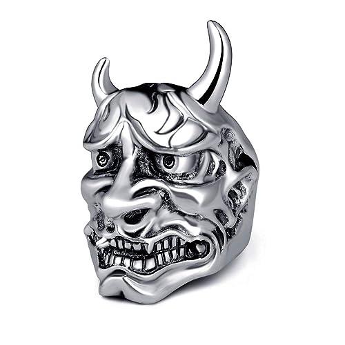 EVBEA Anillos Hombre Máscara de Hannya Prajna Joyería Japonesa ...