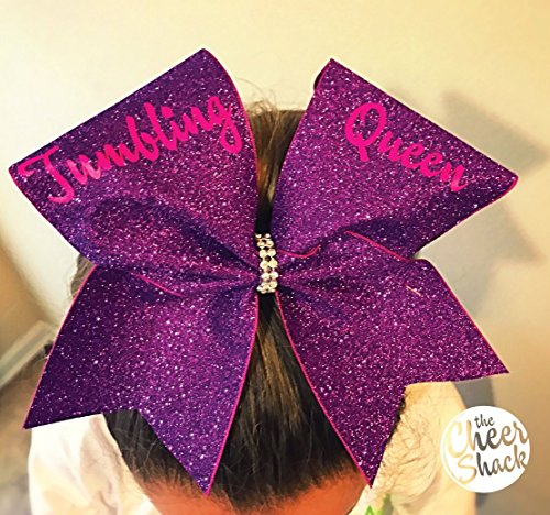 Tumbling Queen, Purple Glitter Cheer Bow, Cheer Bow - Image 1