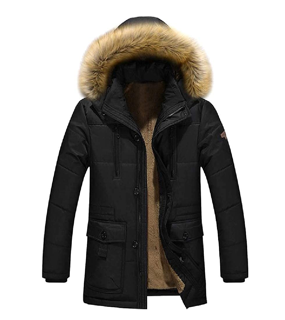 YUNY Mens Fur Collar Brumal Oversized Regular Fleece Hood Jacket Black 4XL