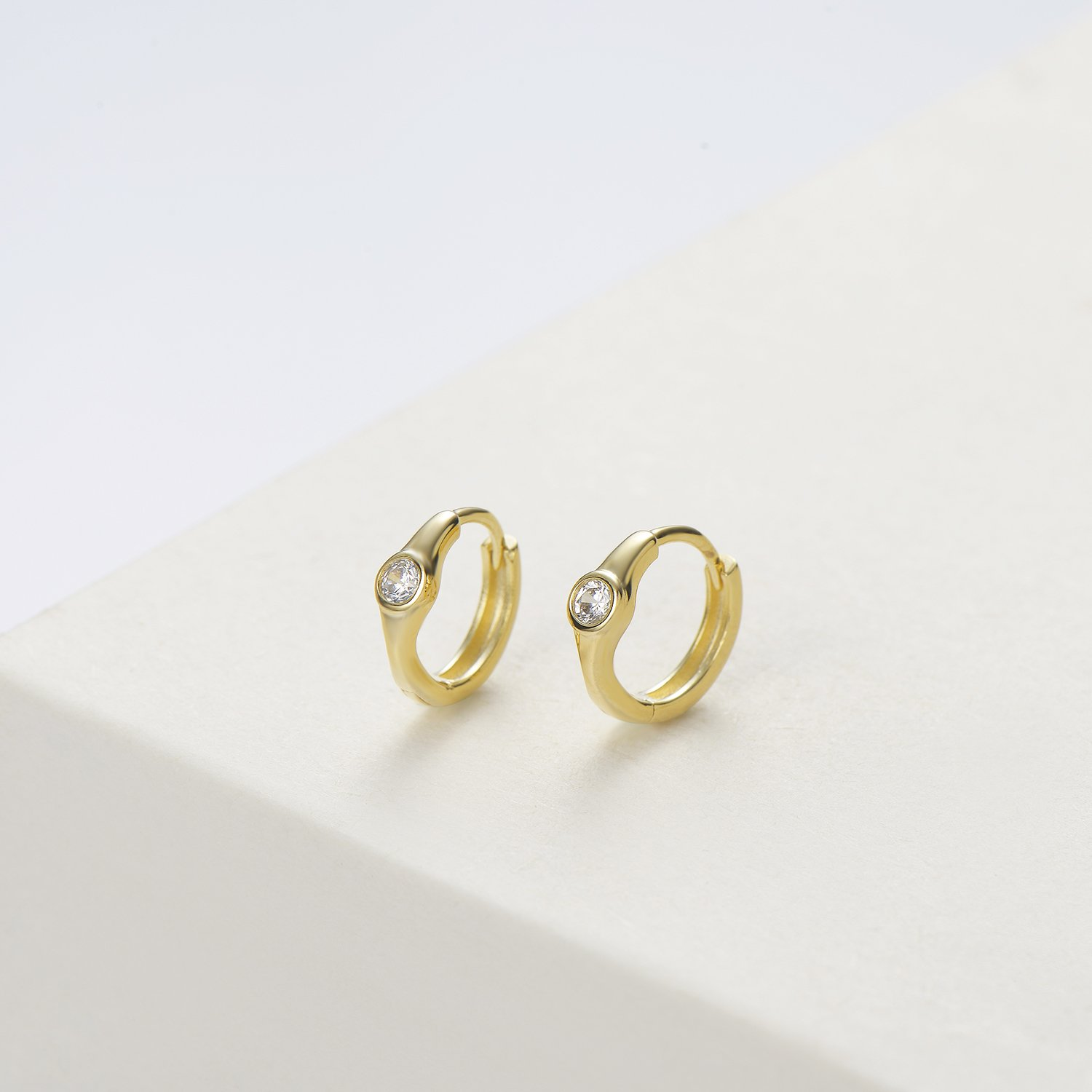 Carleen 14K Yellow Gold Plated 925 Sterling Silver Round Cut Cubic Zirconia CZ Dainty Hinged Hoop Earrings for Women Girls, 11x10mm by Carleen (Image #2)