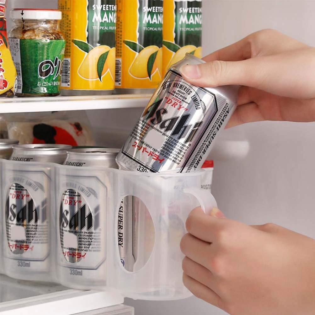Estante de almacenamiento apilable para latas de cerveza – Organizador de botellas de frigorífico para cocina, encimeras, armario, con capacidad para 4 botellas, transparente