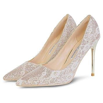 nuevo estilo 09623 a7d2b HRCxue High Heels Zapatos de Boda de Oro Rosa Encaje Tacones ...