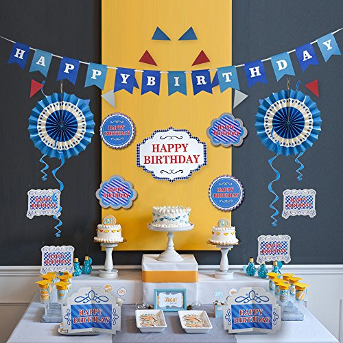 Supply Decorations (Happy Birthday Decoration and Party Supplies with Blue Theme Banner Kit for Boy by Friday Night (Blue))