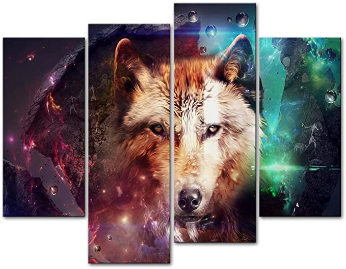 Wolf Canvas Wall Art Animal Paintings Picture Black and White Prints Artwork Ready to Hang for Living Room Bedroom Bathroom Home Decorations Single Panel