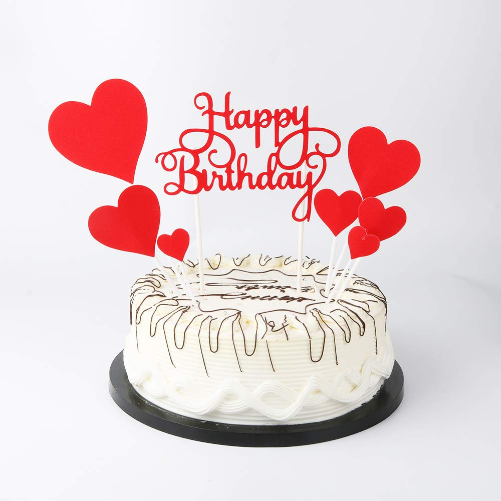 YUINYO Red Happy Birthday Cake Toppers Lettershappy Birthdayand Love StarParty Decoration Supplies