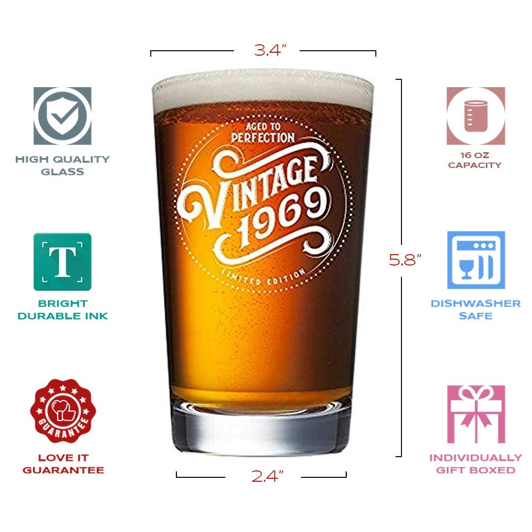 1969 50th Birthday Gifts for Men and Women Beer Glass | Funny Vintage 50  Year Old Presents | 16 oz Pint Glasses Party Decorations Supplies | Best