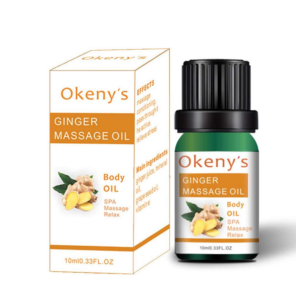 Natural Ginger Essence Oil, MatureGirl Lymphatic Beauty Plant Essence Ginger Massage Essential Oil (10ML Lymphatic Ginger Essence Oil)