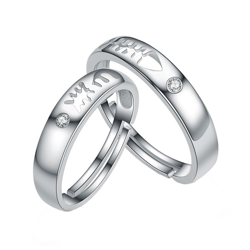 b547fda6d2 Amazon.com: precious time jewelry 925 Sterling Silver Cubic Zirconia Open Rings  Couple Rings (Resizable): Jewelry