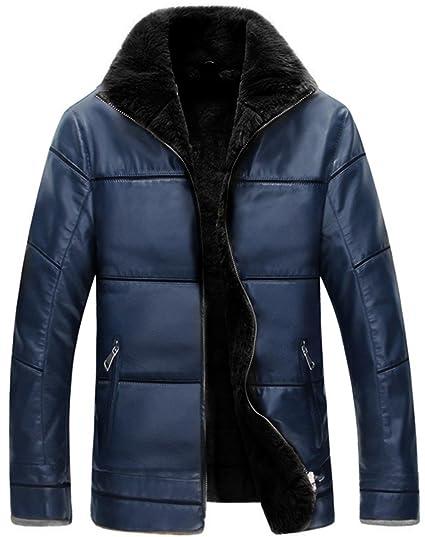 Doudoune Veste Homme en Cuir PU Blouson Hiver Mode Manteau