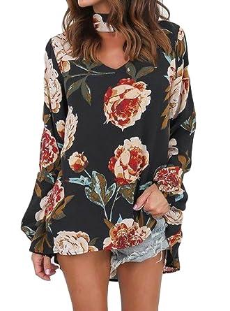 387082f3ce7 UUYUK-Women Long Sleeve Floral Print Choker Halter V-Neck Tunic T-Shirt
