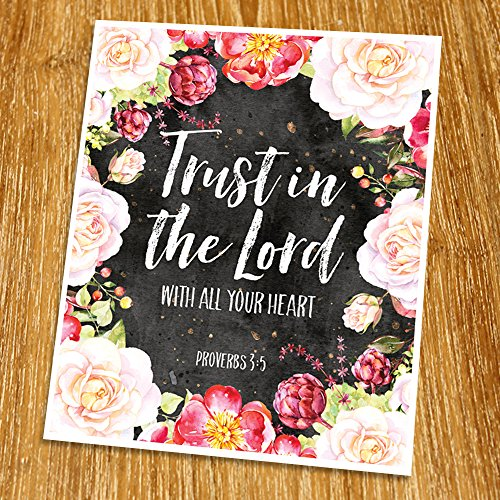 Proverbs 3:5 Trust in the Lord with all your heart Print (Unframed), Wedding bible verse, Scripture Print, Love quote, Christian Wall Art, Church decor, 8x10