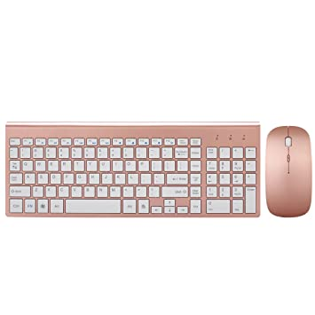 Wireless Keyboard And Mouse Combo, Hi Azul Full Sized 2.4 G Hz Wireless Keyboard With 102 Keys And Power Saving Mouse For Home And Office Use (Rose Gold) by Haibing