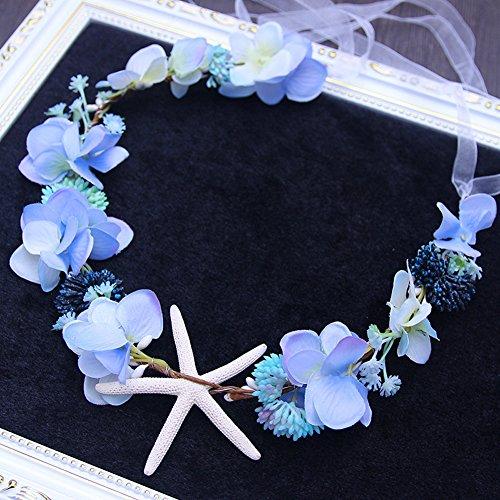 Bridal Beach Starfish Fruit Floral Crown Headband Flower Wreath Women Girls Mermaid Costume Accessories Wedding Flower Garland Hairband (blue) -