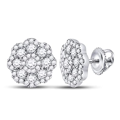 3262a2ca4a3 Amazon.com  The Diamond Deal 14kt White Gold Womens Round Diamond Cluster  Screwback Earrings 3 4 Cttw  Jewelry