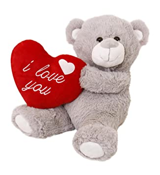 I Love Fancy Dress lh0001-gb suave San Valentín oso de peluche, color gris