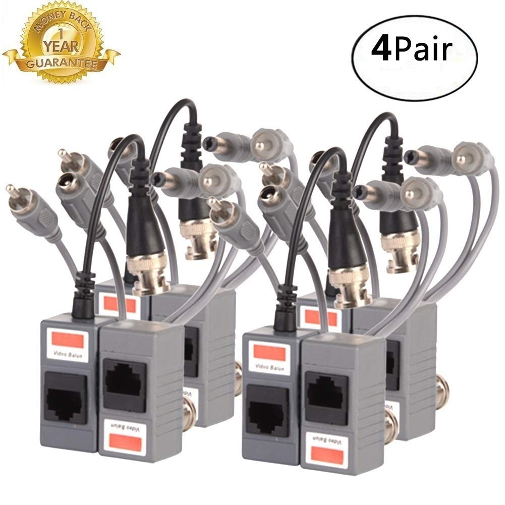 Video Balun,BNC Passive Audio Power Transmitter/Transceiver Connectors Adapter with RJ45 Terminal Via CAT5/5E/6 Twisted-Pair Cable for HD-CVI-TVI/AHD 720P-1080P Video Surveillance Systems 4Pairs/8PCS by LLNRC