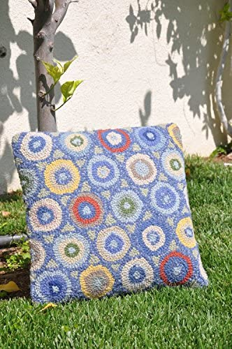 Be-You-tiful Home Coin Wool Hooked Pillow, Blue