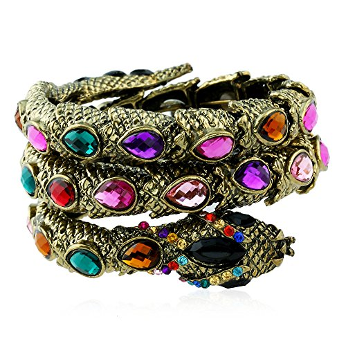 Winter's Secret Vintage Colorful Drop Crystal Beads Accented Bronze Snake Wide Multiple Wrap Bracelet (118 Costume Tumblr)