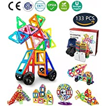 Jasonwell 133 Pieces Creative Magnetic Building Blocks for Boys Girls Magnetic Tiles Building Set Preschool Educational Construction Kit Magnet Stacking Toys Christmas Gift for Kids Toddlers Children