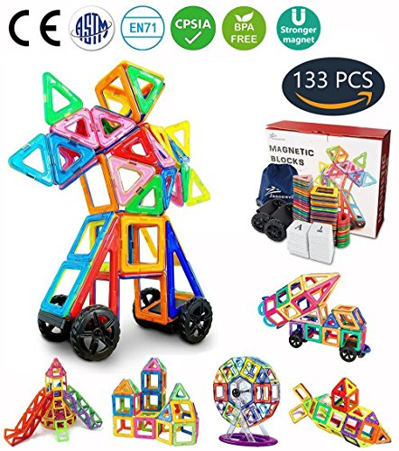 Jasonwell 133 Pieces Creative Magnetic Building Blocks for Boys Girls Magnetic Tiles Building Set Preschool Educational Construction Kit Magnet Stacking Toys Christmas Gift for Kids Toddlers Children (Toys Sets Childrens Building)