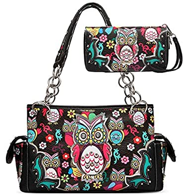 Western Owl Printed Shoulder Bag Women Top Handle Totes Handbags Wallet Set (Black)